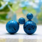 Hot Fashion Retro Candy Color Blue Graffiti Print Double Side Pearl Stud Earrings