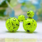 Hot Fashion Retro Candy Color Lime Yellow Graffiti Print Double Side Pearl Stud Earrings