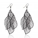 Chic Bohemian Gun Black Plated Polish Fringed Multilayer Tassel Leaf Drop Dangle Earrings