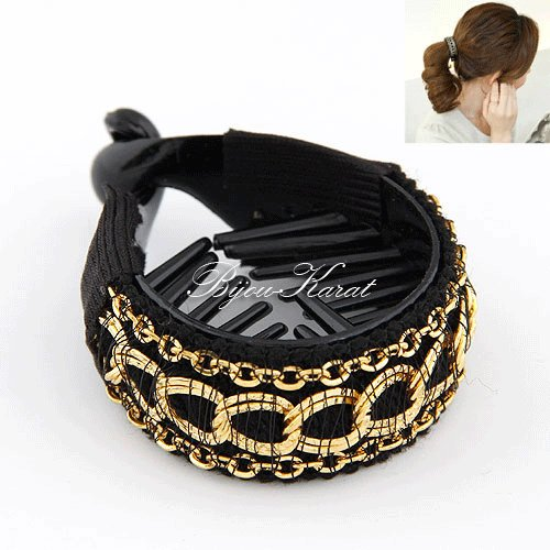 Fashion Retro Gold Chain Tail Clamp Claw Comb Jaw Ponytail Hair Clip Barrette Holder