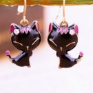 Elegant Black Glaze Small kitty Cat Stud Dangle Drop Earrings
