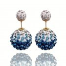 Elegant Stainless Steel Teal Rhinestone Disco Ball Shamballa Double Side Pearl Stud Earrings