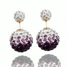 Elegant Stainless Steel Purple Rhinestone Disco Ball Shamballa Double Side Pearl Stud Earrings