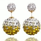 Elegant Stainless Steel Yellow Rhinestone Disco Ball Shamballa Double Side Pearl Stud Earrings
