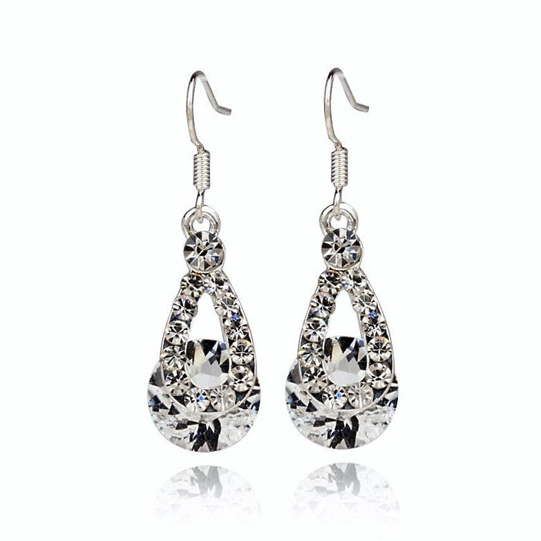 Classic White Austria Crystal Rhinestone Silver Plated Zircon Stone Water Drop Diamond Earrings