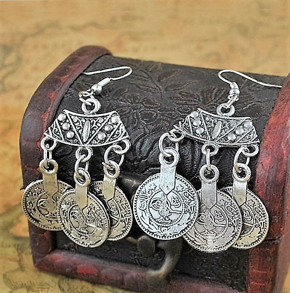 Gypsy Antique Silver Plated Esmeralda Tibetan Ethnic Tribal Boho Drop Dangle Coin Hook Earrings