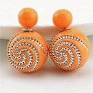 Chic Fashion Retro Spiral Rhinestone Light Orange Double Side Pearl Front Back Stud Earrings