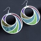 Boho Fashion Chic Multi-Colorful Round Glass Transparent Hoop Drop Earrings