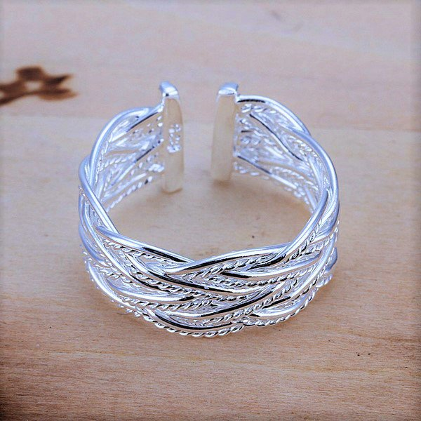 Elegant Classy 925 Sterling Silver Plated Small Open Net Weave Braided Hand Chain Bracelet Ring