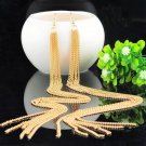 Glamorous Celebrity Long Gold Plated Tassel Chain Dangle Drop Earrings