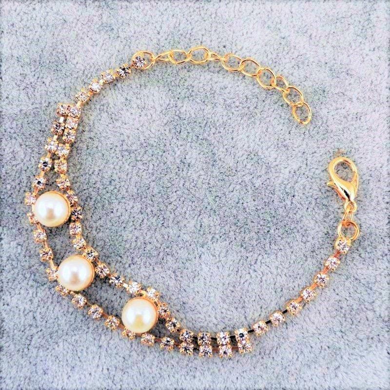 Elegant Pearl Crystal Rhinestone 18K Gold Plated Chain Link Indian Bangle Bracelets
