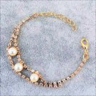 Elegant Pearl Crystal Rhinestone 18K Gold Plated Chain Link Indian Bangle Bracelets