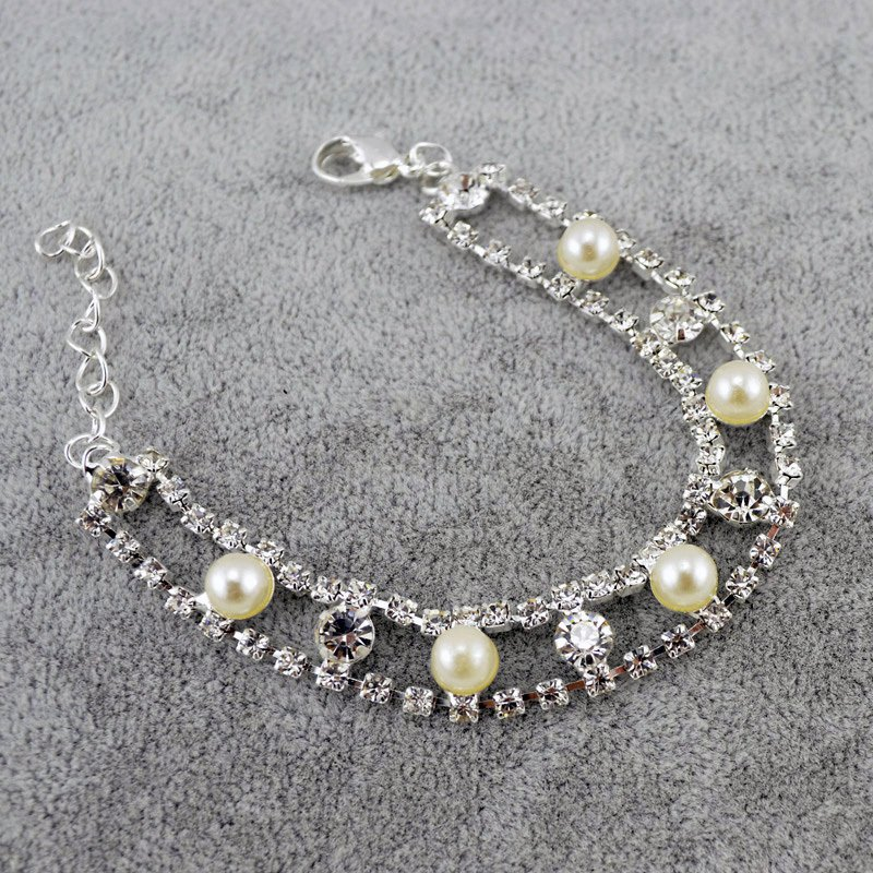 Elegant Pearl Crystal Rhinestone 18K Silver Plated Chain Link Indian Bangle Bracelets