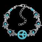 Aztec Ethnic Tribal Tibetan Silver Hamsa Hand Stone Turquoise Beads Peace Sign Charm Bracelet
