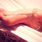 Sexy Multilayer Gold Plated Tassel Anklets Foot Toe Chain Link Barefoot Beach Sandal Bracelet