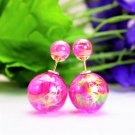 Fashion Retro Pink Fuchsia Transparent Pearl Rainbow Color Double Side Front Back Stud Earrings