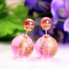 Fashion Retro Light Pink Transparent Pearl Rainbow Color Double Side Front Back Stud Earrings