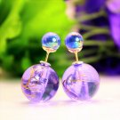 Fashion Retro Royal Purple Transparent Pearl Rainbow Color Double Side Front Back Stud Earrings