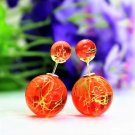 Fashion Retro Orange Transparent Pearl Rainbow Color Double Side Front Back Stud Earrings