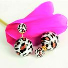 Chic Fashion Ethnic Tribal Cheetah Leopard Printed Double Opal Ball Pearl Front Back Stud Earrings