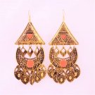 Big Glamorous Ethnic Coral Gold Plated Pyramid Triangle Patches Chandeliers Drop Dangle Earrings