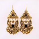 Big Glamorous Ethnic Black Gold Plated Pyramid Triangle Patches Chandeliers Drop Dangle Earrings