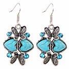 Bohemian Ethnic Tribal Tibetan Silver Crystal Turquoise Double Heart Butterfly Pendant Drop Earrings