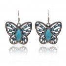 Bohemian Ethnic Tribal Tibetan Silver Rhinestone Turquoise Oval Butterfly Pendant Drop Earrings