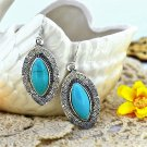 Bohemian Ethnic Tribal Tibetan Silver Rhinestone Turquoise Ball Shaped Rugby Pendant Drop Earrings