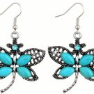 Bohemian Ethnic Tribal Tibetan Silver Crystal Rhinestone Turquoise Dragonfly Pendant Drop Earrings