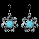 Bohemian Ethnic Tribal Tibetan Silver Rhinestone Turquoise Stone Sunflower Pendant Drop Earrings