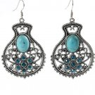 Bohemian Ethnic Tribal Tibetan Silver Rhinestone Turquoise Stone Flower Vase Pendant Drop Earrings