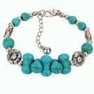 Aztec Ethnic Tribal Tibetan Silver Bohemian Turquoise Beaded Dog Bones Stone Bracelet