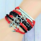 Bohemian Multilayer Sterling Silver Hand-Woven Anchor Infinity Rudder Pu Leather Wrap Charm Bracelet