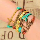 Bohemian Multi-Layer Antique Bronze Hand-Woven Anchor Infinity Love Pu Leather Wrap Charm Bracelet