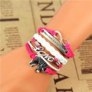 Bohemian Multi-Layer Hand-Woven Pink White Courage Love Elephant Pu Leather Wrap Charm Bracelet