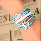 Bohemian Multi-Layer Hand-Woven Blue White Courage Love Elephant Pu Leather Wrap Charm Bracelet