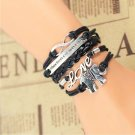 Bohemian Black Silver Hand-Woven Blue White Courage Love Elephant Pu Leather Wrap Charm Bracelet