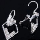 Beautiful Clear Crystal Rhinestones Bridal Pentagon Clip Stud Earrings