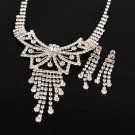 Diamond White Gold Crystal Rhinestone Butterfly Tie Floral Necklace Earring Wedding Jewelry Set