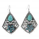 Ethnic Tribal Tibetan Stainless Steel Silver Turquoise Crystal Waterdrop Inlay Pendant Drop Earrings