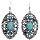 Vintage Ethnic Tribal Tibetan Stainless Steel Silver Turquoise Crystal Filigree Oval Drop Earrings
