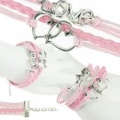 Bohemian Multi-Layer Handmade Sterling Heart To Heart Infinity Love Pink Leather Wrap Charm Bracelet