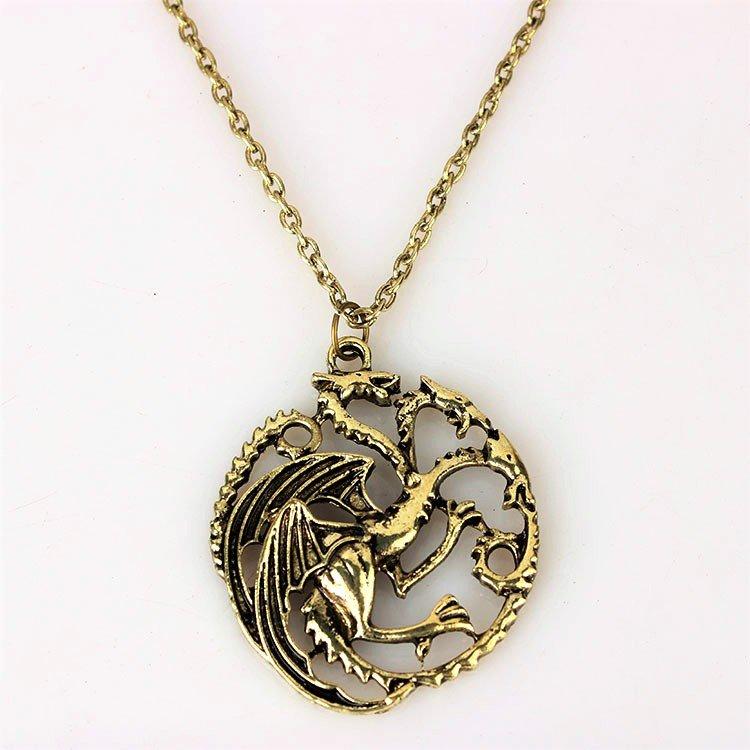 Antique Bronze Game of Thrones House Daenerys Targaryen Khaleesi Sigil Dragon Pendant Necklace