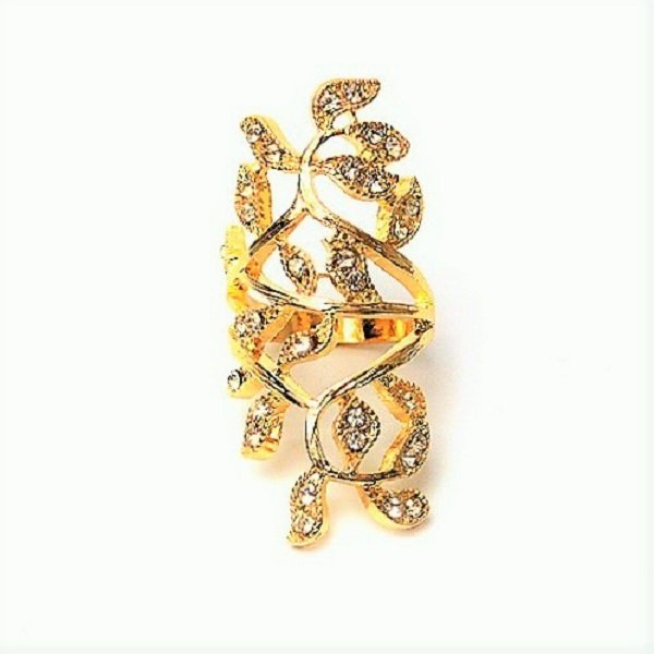 Greek Goddess Gold Plated Sparkling Rhinestone Stainless Steel Long Branch Leaf Knuckle Wrap Ring