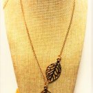 Simply Elegant Stainless Steel Gold Filigree Double Leaf Lariat Pendant Chain Necklace