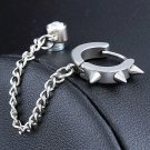 Gothic Punk Street Hip-Hop Unisex long Chain Rhinestone Rivets Stainless Steel Huggie Hoop Earrings