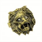 Punk Rock Unisex Antique Bronze Retro Vintage Lions Head Clear Crystal Eyes Cocktail Ring