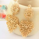 Beautiful Bohemian Gold Polish Tone Rhinestone Intricate Cut Chandelier Studded Drop Earrings