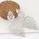 Beautiful Bohemian Silver Polish Tone Rhinestone Intricate Cut Chandelier Studded Drop Earrings